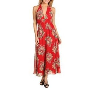 Betsey Johnson Red Floral Dress Small